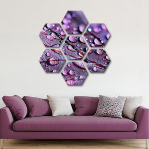 Purple Leaf Droplets Multi Panel Canvas Wall Art - Botanical