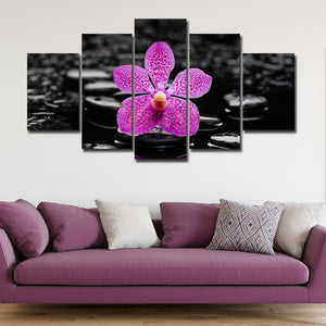 Purple Orchid Multi Panel Canvas Wall Art - Spa