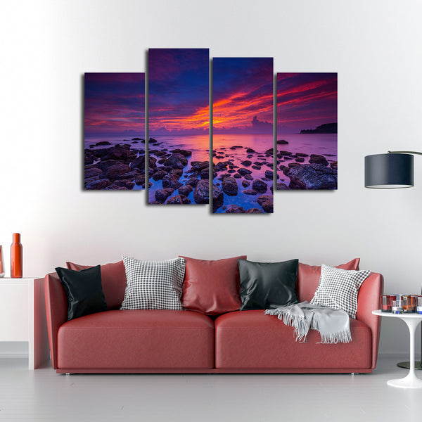 Purple Sunrise Multi Panel Canvas Wall Art