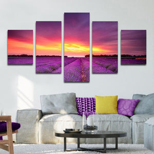 Purple World Multi Panel Canvas Wall Art - Nature