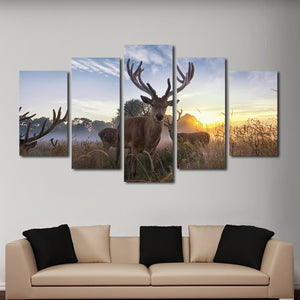 Pursuing White Tail Multi Panel Canvas Wall Art - Hunting