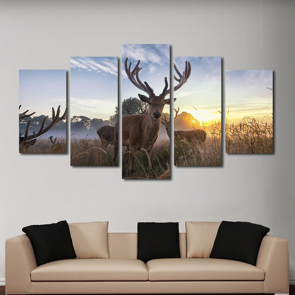 Pursuing White Tail Multi Panel Canvas Wall Art