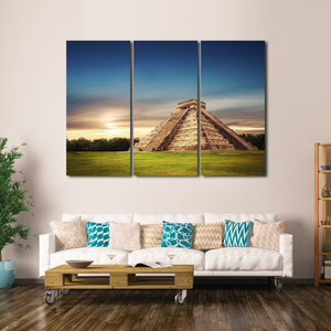 Pyramid in Chichen Multi Panel Canvas Wall Art - Nature