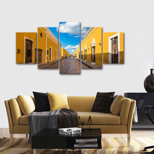 Quaint Street Multi Panel Canvas Wall Art - Village