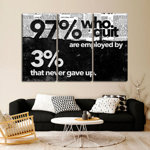 Quitters Are Losers Multi Panel Canvas Wall Art - Entrepreneur