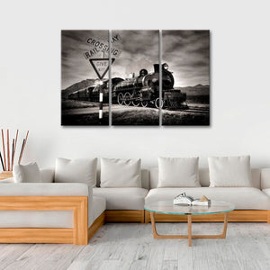 Railroad Crossing Multi Panel Canvas Wall Art - Train
