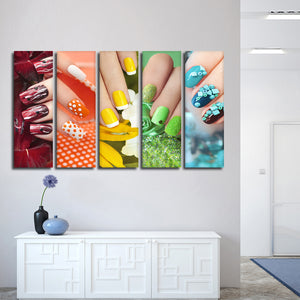 Rainbow Nails Multi Panel Canvas Wall Art - Nails