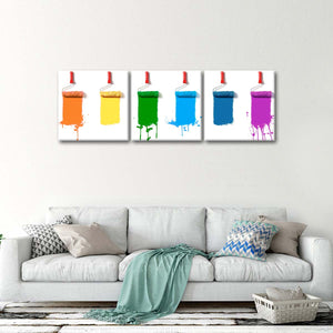 Rainbow Paint Rollers Multi Panel Canvas Wall Art - Painter