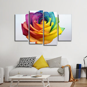 Rainbow Rose Multi Panel Canvas Wall Art - Flower