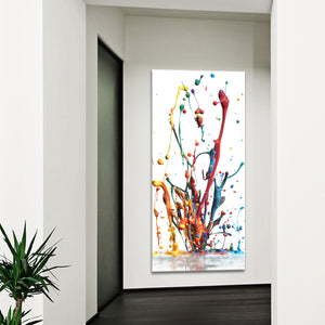 Rainbow Splash Multi Panel Canvas Wall Art - Color