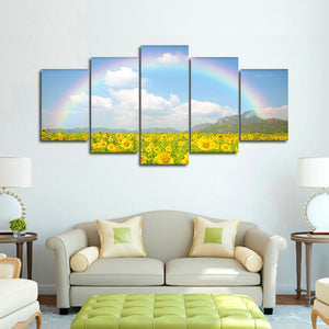 Rainbow Sunflowers Multi Panel Canvas Wall Art - Flower