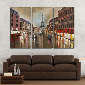 Rainy Day in Paris Multi Panel Canvas Wall Art - Paris