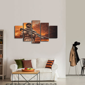 Ranger Sniper Multi Panel Canvas Wall Art - Army