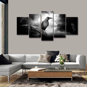 Raven Multi Panel Canvas Wall Art - Gothic