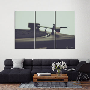 Record Player Multi Panel Canvas Wall Art - Music