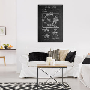 Record Player Patent BW Canvas Wall Art - Music
