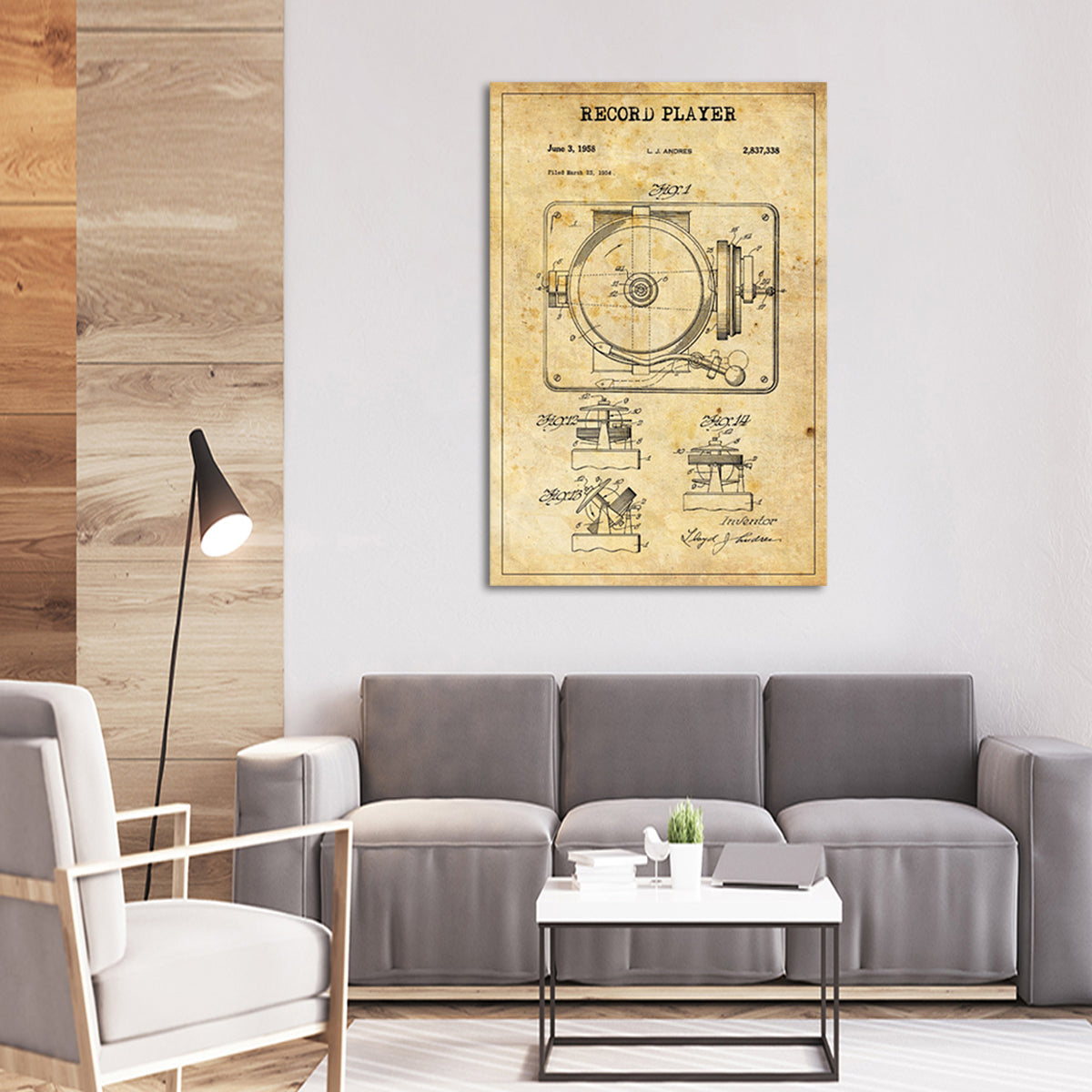 Record Player Patent Canvas Wall Art | ElephantStock