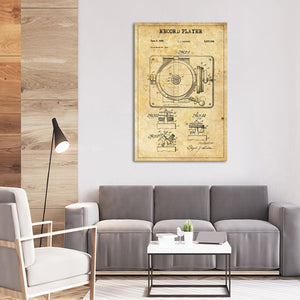Record Player Patent Canvas Wall Art - Music