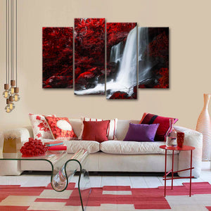 Red Autumn Waterfall Multi Panel Canvas Wall Art - Nature
