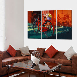 Red Bike Multi Panel Canvas Wall Art - Bicycle