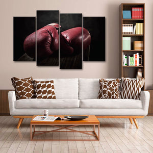 Red Boxing Gloves Multi Panel Canvas Wall Art - Boxing