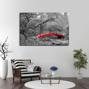 Red Bridge Pop Multi Panel Canvas Wall Art - Nature