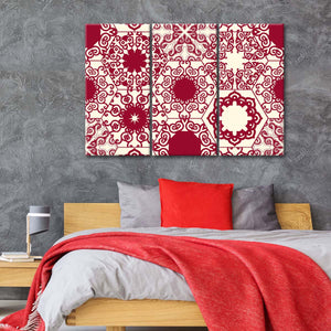 Red Hexagon Patterns Multi Panel Canvas Wall Art - Fabric