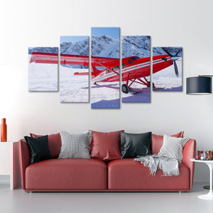 Red Plane Multi Panel Canvas Wall Art - Airplane