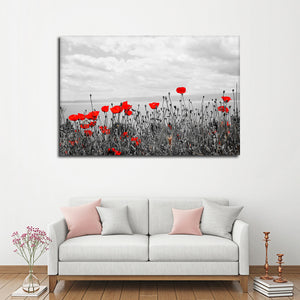 Red Poppy Fields Pop Multi Panel Canvas Wall Art - Flower