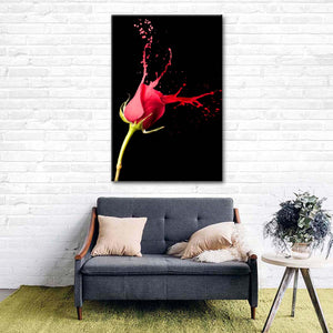 Red Rose Splash Multi Panel Canvas Wall Art - Rose
