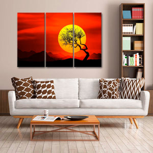 Red Sky Multi Panel Canvas Wall Art - Nature