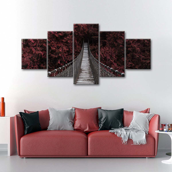 Red Suspension Bridge Multi Panel Canvas Wall Art