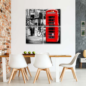Red Telephone Booth Multi Panel Canvas Wall Art - United_kingdom