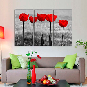 Red Tulips Pop Multi Panel Canvas Wall Art - Flower