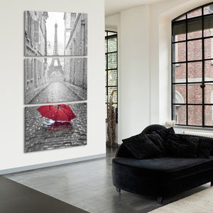 Red Umbrella Multi Panel Canvas Wall Art - Paris