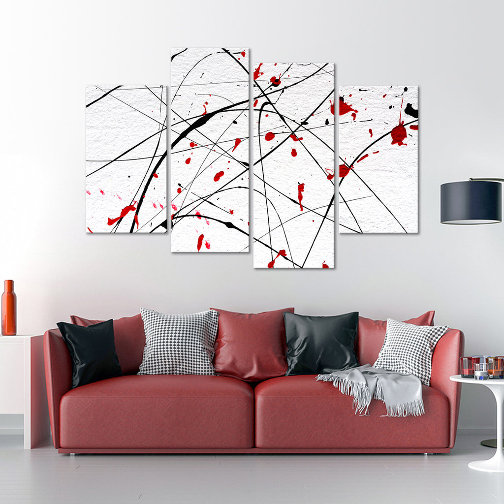 Red Wall Multi Panel Canvas Wall Art | ElephantStock