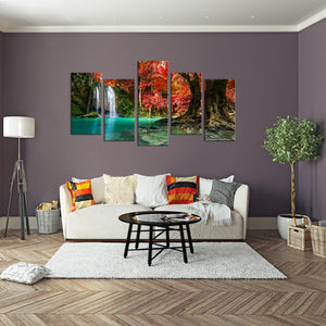 Red Waterfall Multi Panel Canvas Wall Art - Nature