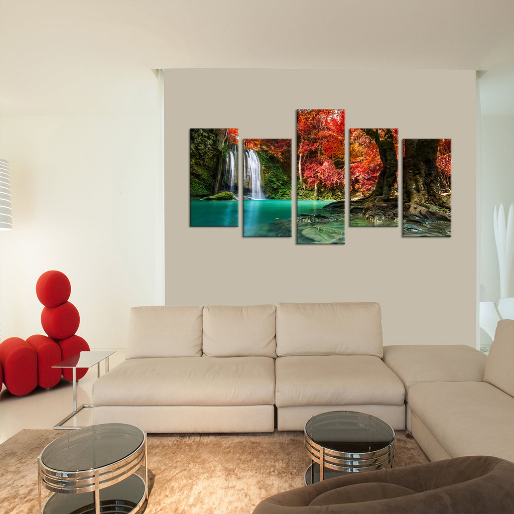 red waterfall multi panel canvas wall art elephantstock. Black Bedroom Furniture Sets. Home Design Ideas