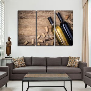 Red And White Wine Multi Panel Canvas Wall Art - Winery