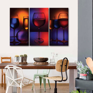 Multicolored Wine Glass Canvas Set Wall Art - Winery