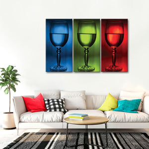 Polychromatic Wine Glass Canvas Set Wall Art - Winery