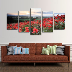 Red Poppies Multi Panel Canvas Wall Art - Flower