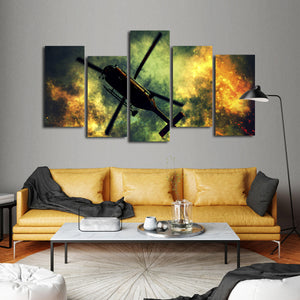 Rescue Helicopter Multi Panel Canvas Wall Art - Firefighters