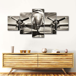 Retro Airplane Multi Panel Canvas Wall Art - Airplane