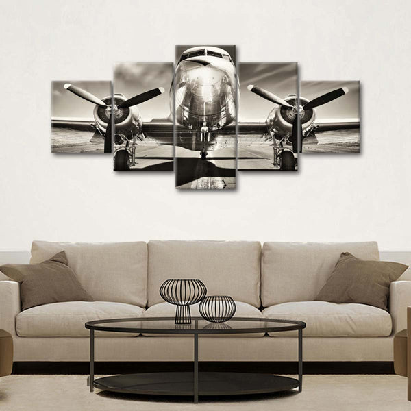 Retro Airplane Multi Panel Canvas Wall Art