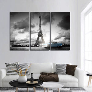 Retro Car In Paris Multi Panel Canvas Wall Art - Paris