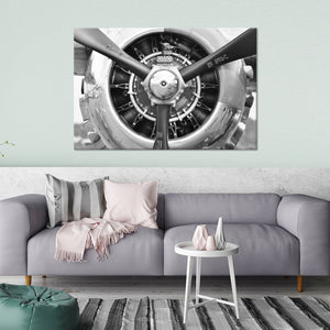 Retro Engine Multi Panel Canvas Wall Art - Airplane