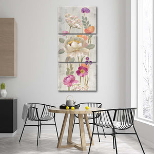 Retro Floral II Multi Panel Canvas Wall Art - Flower