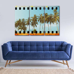 Retro Paradise Multi Panel Canvas Wall Art - Beach