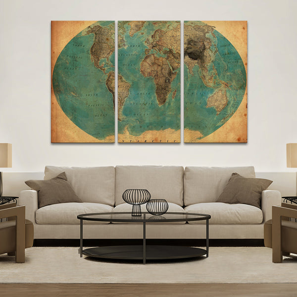 Retro World Map (1930`s) Multi Panel Canvas Wall Art